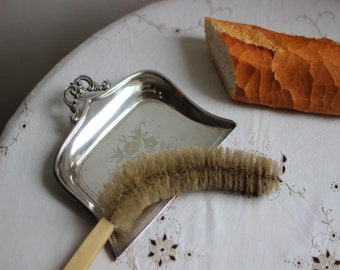 Silver Plated Crumb Tray and Celluloid Handled Brush