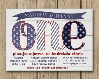 Nautical 1st Birthday Invitations Choice Image Invitation