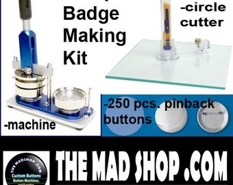 """1 1/2"""" inch Pin Badge Button Maker Machine Set (Complete Button/Badge Making Kit)"""