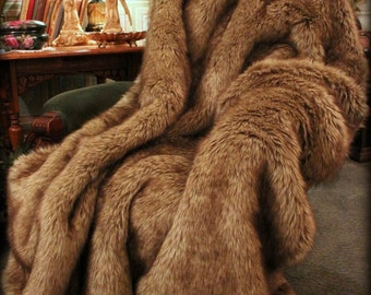 Luxurious Faux Fur Throw Blanket - Light Golden Brown Wolf Fur - Minky Cuddle Fur Lining - Designer Quality - Fur Accents USA