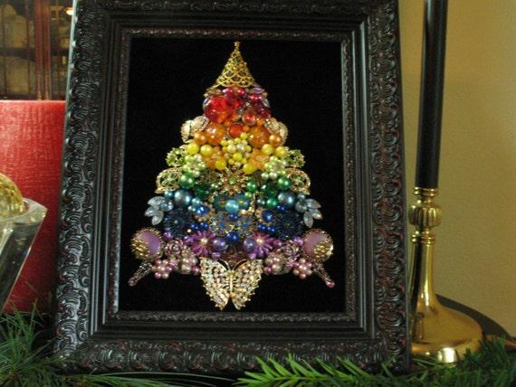 Framed Vintage Jewelry Christmas Tree Rhinestone Rainbow