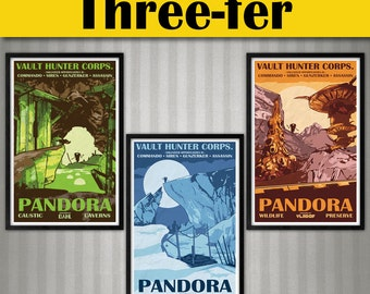 Borderlands 2 - Pandora Series - 3 Vintage National Park Style Posters - 11x17