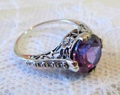 Alexandrite Solitaire Filigree Floral Ring, Sterling Silver, Vintage Art Deco Style, Alternative Engagement Ring, SZ 8