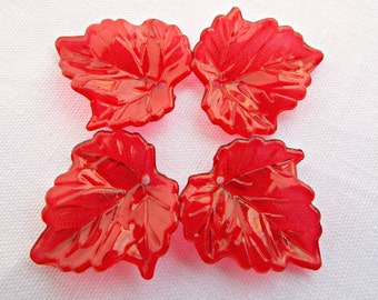 50 Red Leaves, Translucent Leaves, Acrylic Red Leaves, Lucite Leaf Beads, Jewelry Supplies, Red Leaf Beads, 25mm Leaf Charms, UK Seller