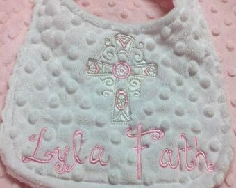 Baby Bib with Cross. Perfect for baptism or dedication for a boy or girl. You choose colors.
