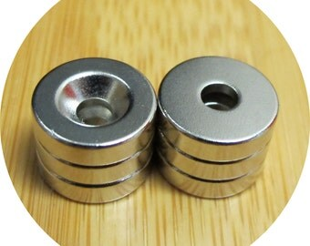 "50 Neodymium disc 1/2 inch X 1/8"" countersunk rare earth magnets"