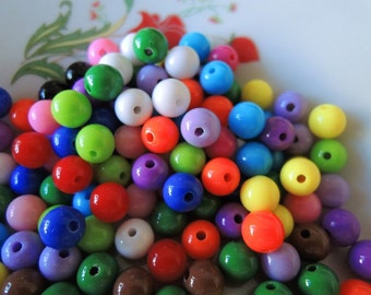 100Pcs  Mixed Color Acrylic Beads -8mm (S022)
