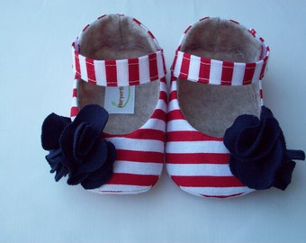 BETHANY baby girl shoes - Red and white stripe with blue flower