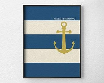 Nautical Art, Nautical Poster, Nautical Decor, Anchor Print, Sailing Print, Beach House Decor, Nautical Print, Inspirational Print, 0209