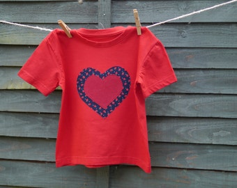 Girls Red T-shirt with Strawberry Heart