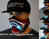 Rave Mask Bandana LED JOG Light Up Mask - Futuristic Raver Cyborg Sound Reactive Mask for Cyborg Robot Edm Dj Mask Cop tron costume Glow LED
