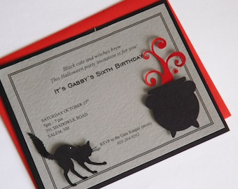 Set of 4 Halloween Scary Cat Birthday Party Invitation