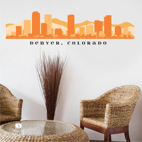 Denver Colorado Skyline Wall Decal Art Fabric By