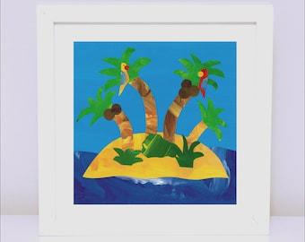Art Print for Boys, Kids bedroom or Nursery wall art, Bedroom Decor: Pirate Print - Macaw Island