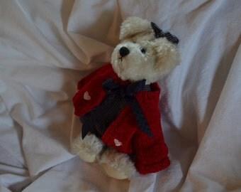 Vintage Sweet Heart bear, small teddy bear with cute red cloak