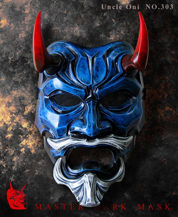 Uncle Oni Mask 303 Blue Japanese Noh Style By Thedarkmask