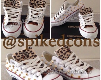 Adult Leopard Studded Converse