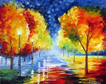 "ORIGINAL Oil Painting Modern Palette Knife Landscape  -  Alley In The PARK 20""x 16""x 1 1/2"""
