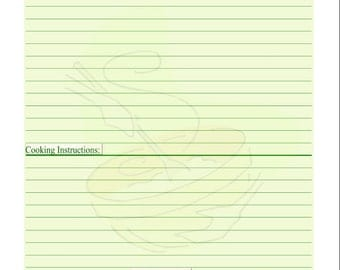 Fillable Gluten Free Recipe Log / PDF/ Digital Health forms/ Printable / Instant Download