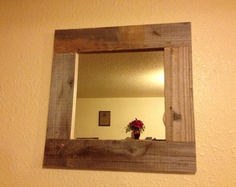 Rustic western style framed mirror