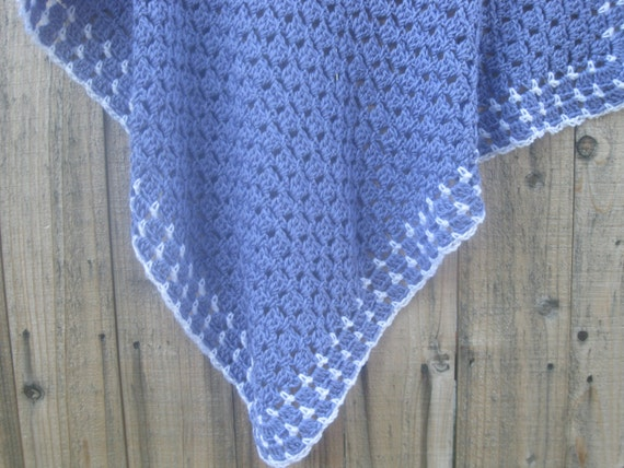 Crochet Lap Blanket : Crochet Baby Blanket or Lap Blanket / Purple and White / Baby Shower ...