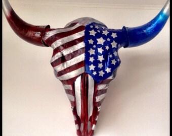 Buffalo / Bison Skull   - Original Hand Painted Taxidermy Art