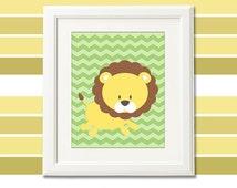 Lion nursery art print - 8x10 - Children wall art, baby boy, safari, brown, green, chevron  -  UNFRAMED