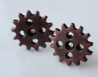 Metal Gears Cogs Copper 5 Hole Steampunk 13mm Stud Earrings