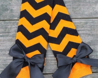 Halloween Leg Warmers, orange and black chevron leg warmers, baby leg warmers, infant leg warmers, fall leg warmers