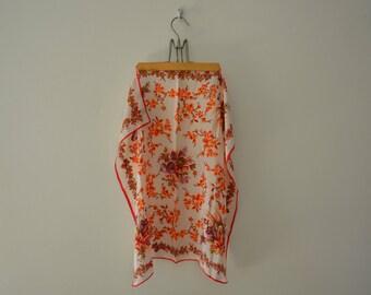 80's Vintage Oscar De La Renta hand Painted Pure Silk Shawl / Floral Silk Scarf / Made in Japan