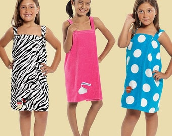 Girl's Terry Velour Body Wrap - Great after bath, around pool, at the beach
