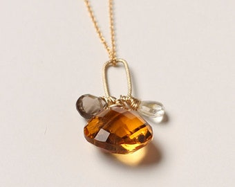 Smokey & Orange Quartz, Gold Filled Chain, Semi-Precious Stones, Minimalistic, Necklace