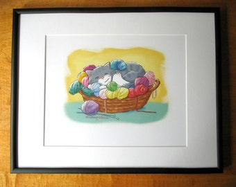 """Comfy Spot frameable 10""""x8"""" print / fun for any room, office / cute sleeping cat, basket of yarn / art by Kathe Keough"""