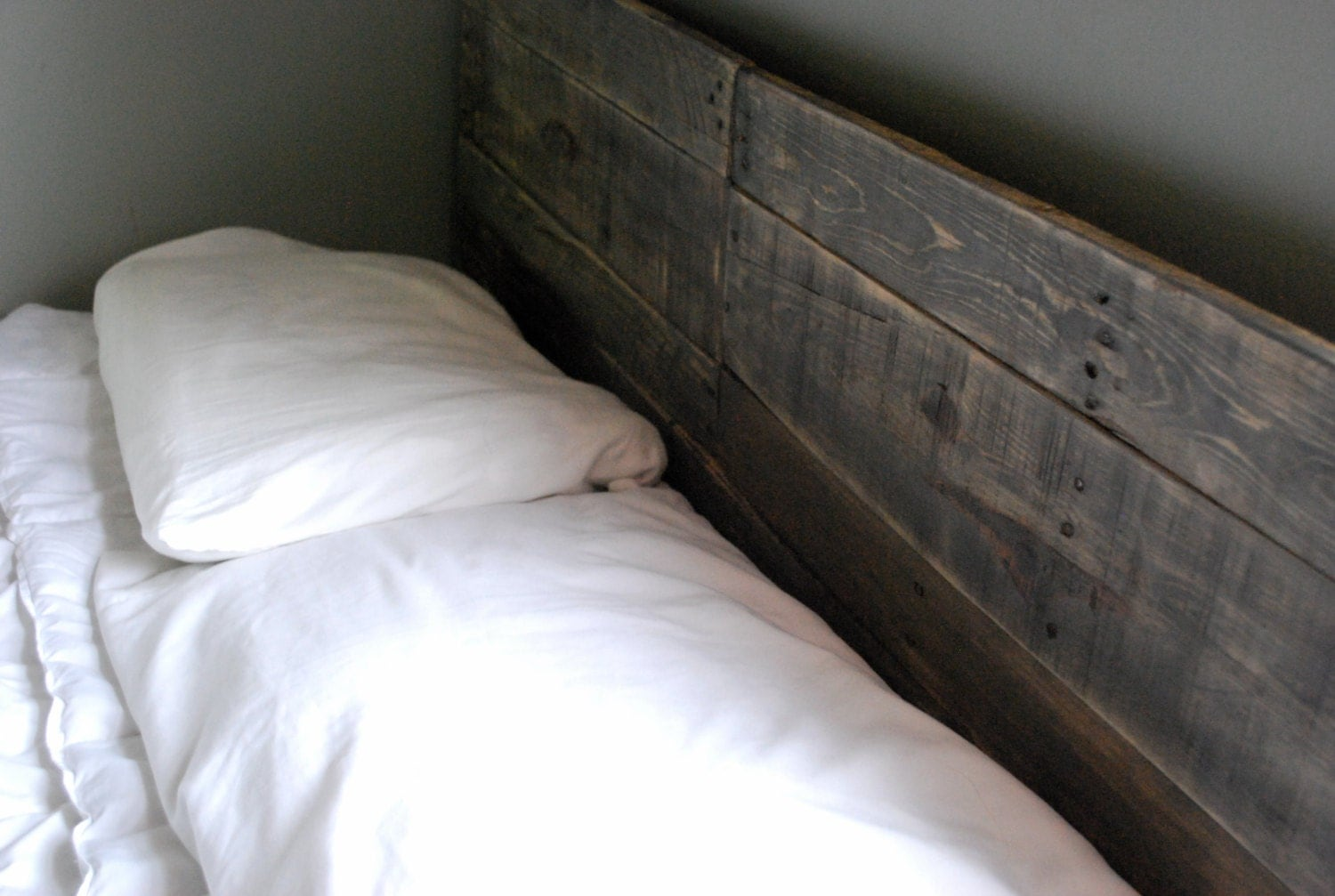 Industrial And Elegant Reclaimed Wood Headboard Classic Grey