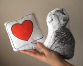 Valentine's Day cat plush handpinted red heart pillow home decor for cat lovers - MosMea
