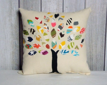 Applique Pillow. 16x16 Tree Pillow Cover. Home Decor. Tree Pillow. Tree of Life Pillow.
