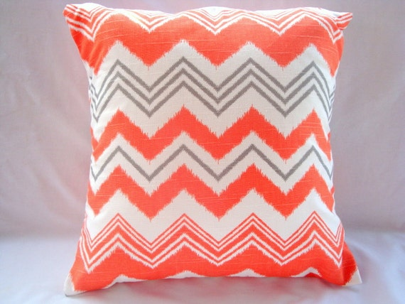 SALE Chevron Pillow. Pillow Cover. Orange Pillow Cover. Accent Pillow. Pillows