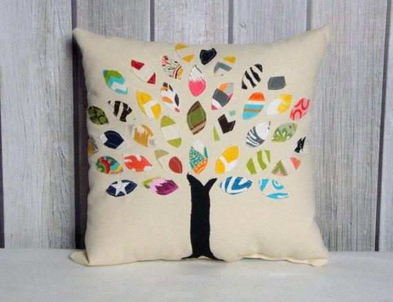 Applique Pillow. 16x16 Tree Pillow Cover. Home Decor. Tree Pillow. Tree of Life Pillow.