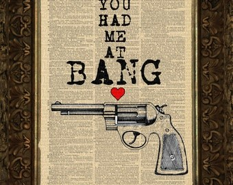 You Had Me At BANG on art dictionary page illustration book print