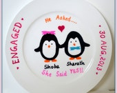Personalized Engagement Plate Gift - Valentines Day - 10 in. White Circle