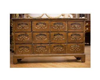 Antique French Pine Apothecary twelve Drawer Chest