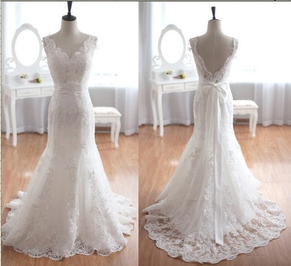 Items similar to taffeta lace wedding dress mermaid bridal for Etsy dresses for weddings