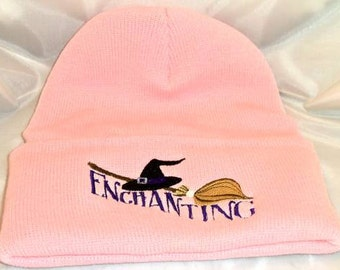 Enchanting witch hat broom beanie hat wiccan