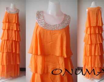 Orange chiffon raffle crystal   Long maxi dress evening