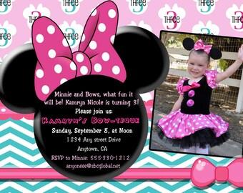 Custom Minnie Mouse BowTique Invitation Printable