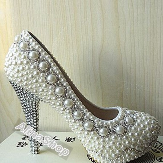 Sliver Rhinestone Ivory Pearl Wedding Shoes Custom By