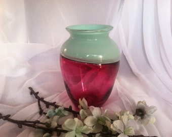 Hand Blown Art Glass Incalmo Vase
