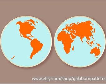 PDF counted cross stitch pattern - Set of 2 - Globe - Hemisphere map