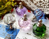 4PCS 16mm Crystal tiny glass Vial Perfume bottles Perfume Vial Rice Vials wishing vials- for  Pendant or Charm ( essential oils)-(bt003)