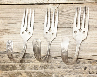Fork Wall Hooks Upcycled - Set of Three - Vintage Fork Coat Hangers - Curtain Tie Back - Silver Plated Silverware - Shabby Chic